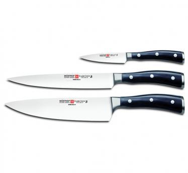 Wüsthof 3-delni set nožev classic ikon, črn (9601)