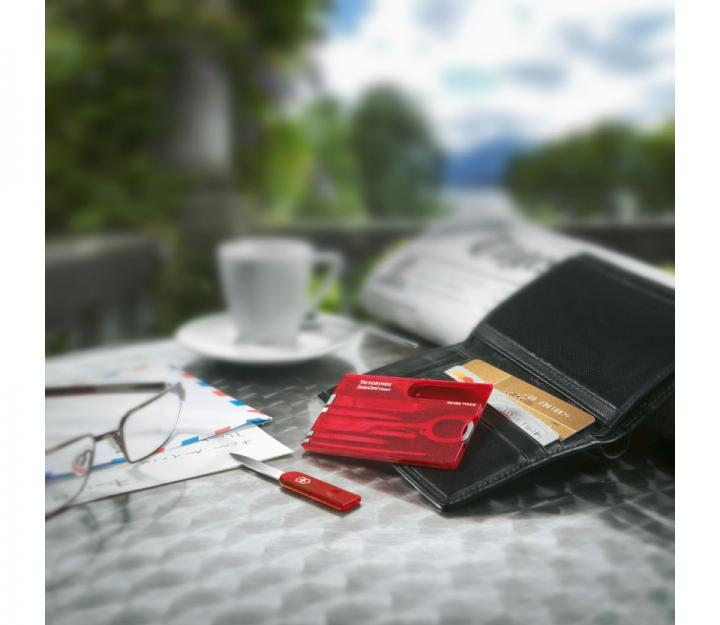Victorinox SwissCard Classic, transparentno rdeč (0.7100.T)