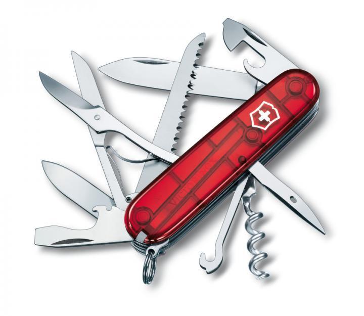 Victorinox švicarski žepni nož Huntsman, transparentno rdeč (1.3713.T)