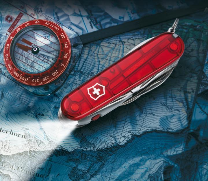 Victorinox švicarski žepni nož Huntsman Lite, transparentno rdeč (1.7915.T)